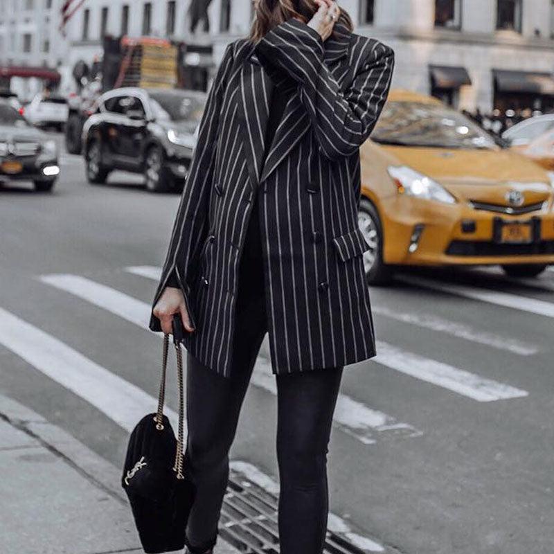 Fashion Long Sleeve A Lapel Stripe Suit