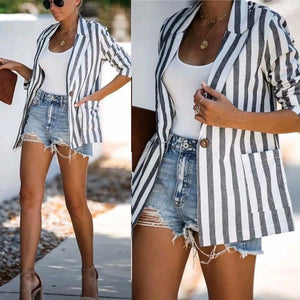 Striped Casual Loose Blazer