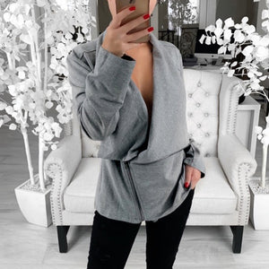 Diagonal Zipper Solid Color Sweater