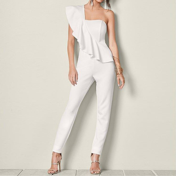Women's One Shoulder Ruffle Sexy Slim Jumpsuit