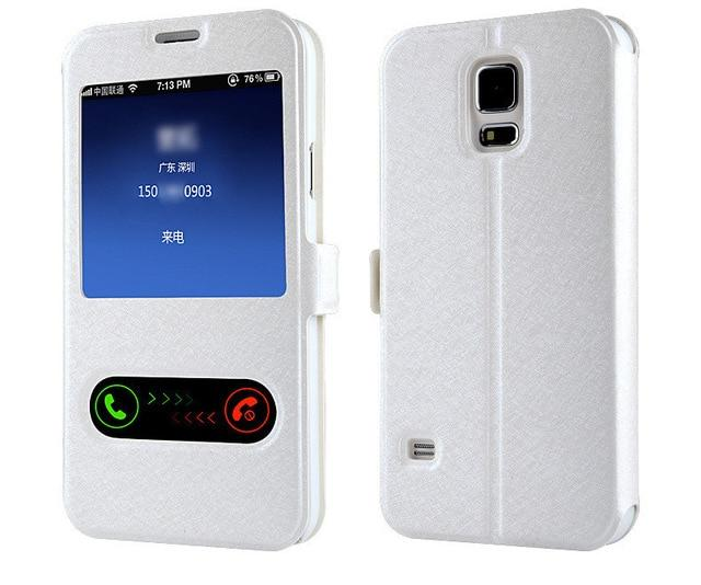 Smart Front Window View Leather Flip Case For Samsung