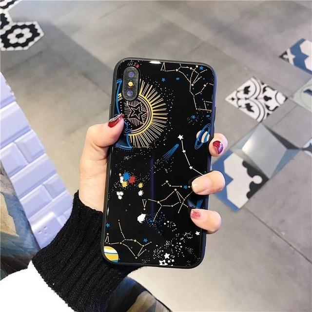 Glossy Space Planet Stars Phone Case For iPhone