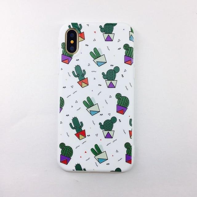 Candy Color Art Leaf Print Phone Case for iPhone - E-shopstore