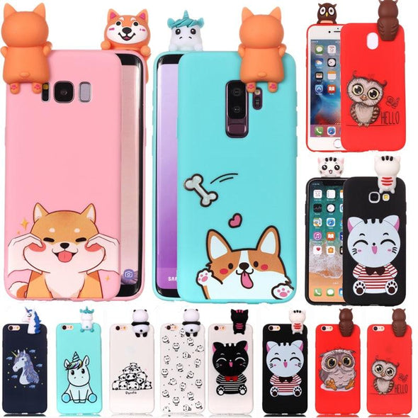 3D Cartoon Cat dog panda Soft Silicone Case For Samsung - E-shopstore