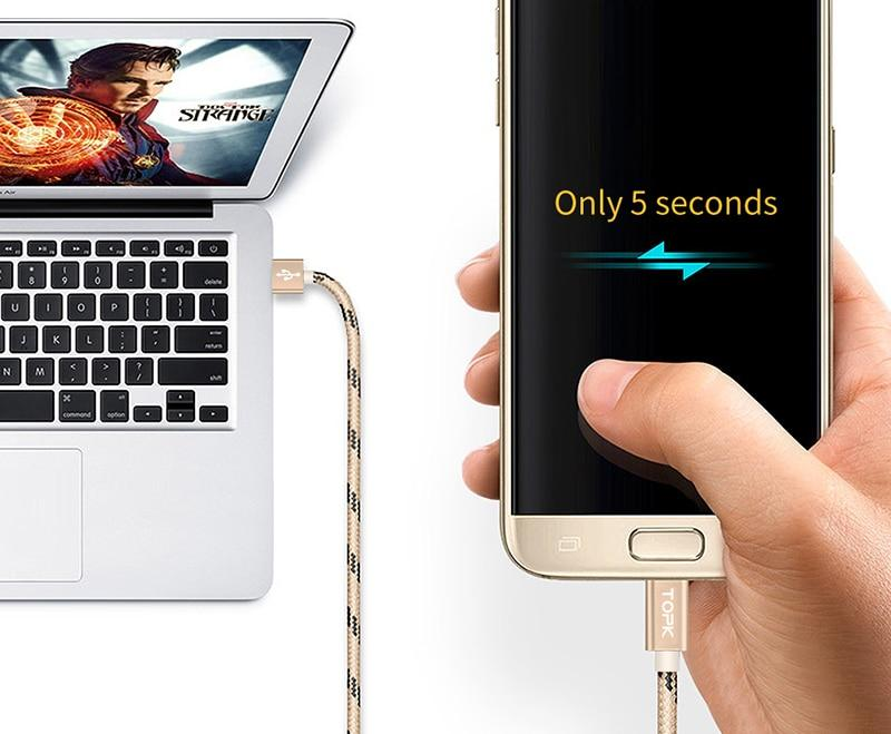 TOPK Original Micro USB Cable with Metal Shell Gold-plated Connector for android phone