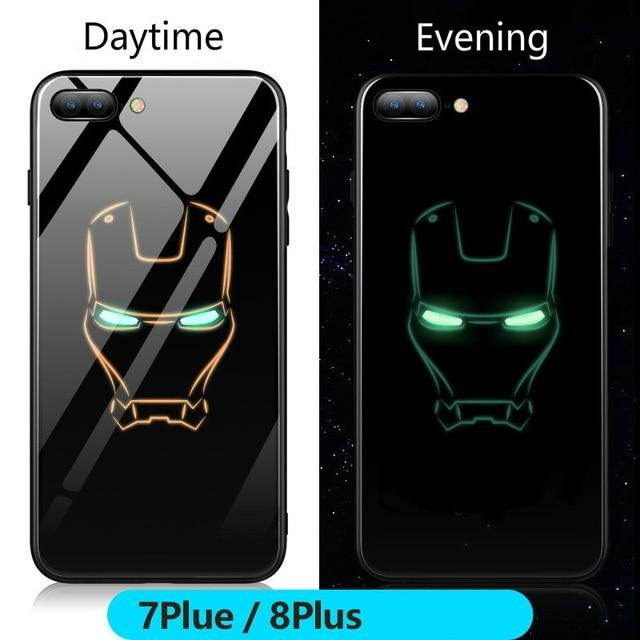Marvel Batman Superman Spiderman Luminous Glass Case For iphone - E-shopstore