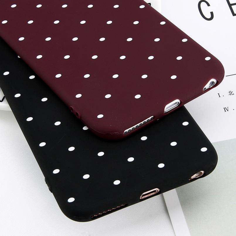 Wine Red Ploka Dots Phone Case For iPhone