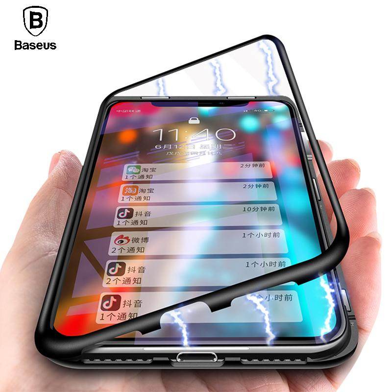 Luxury Metal Bumper+Tempered Glass Back Cover Flip Case For iPhoneX Phone Cases - E-shopstore