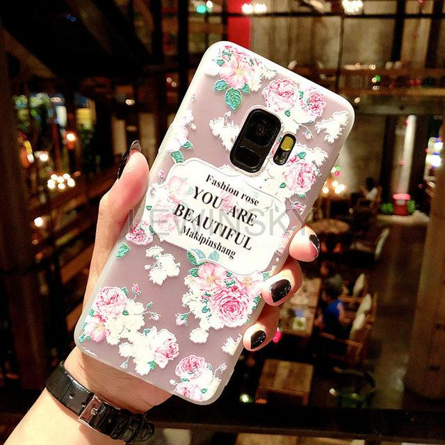 3D Relief Flower TPU Phone Case for Samsung - E-shopstore