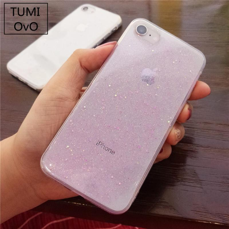 Simple Transparent Bling Glitter Stars Case For iPhone