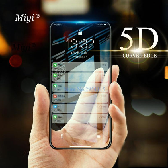 5D Curved Edge Premium Full Coverage Tempered Glass For iPhone X 10 Glass Protective Glass For iPhone 6 6S 7 8 Plus Case Film - E-shopstore