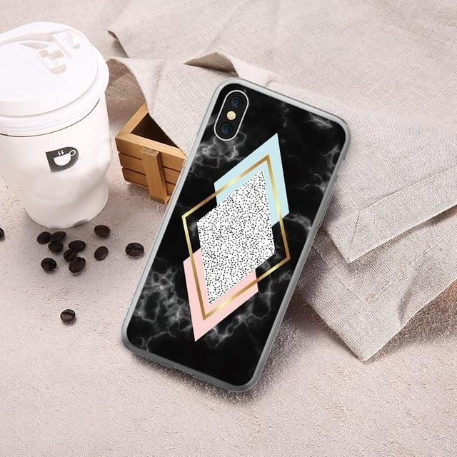 Luxury Geometric Marble Case For iPhone - E-shopstore