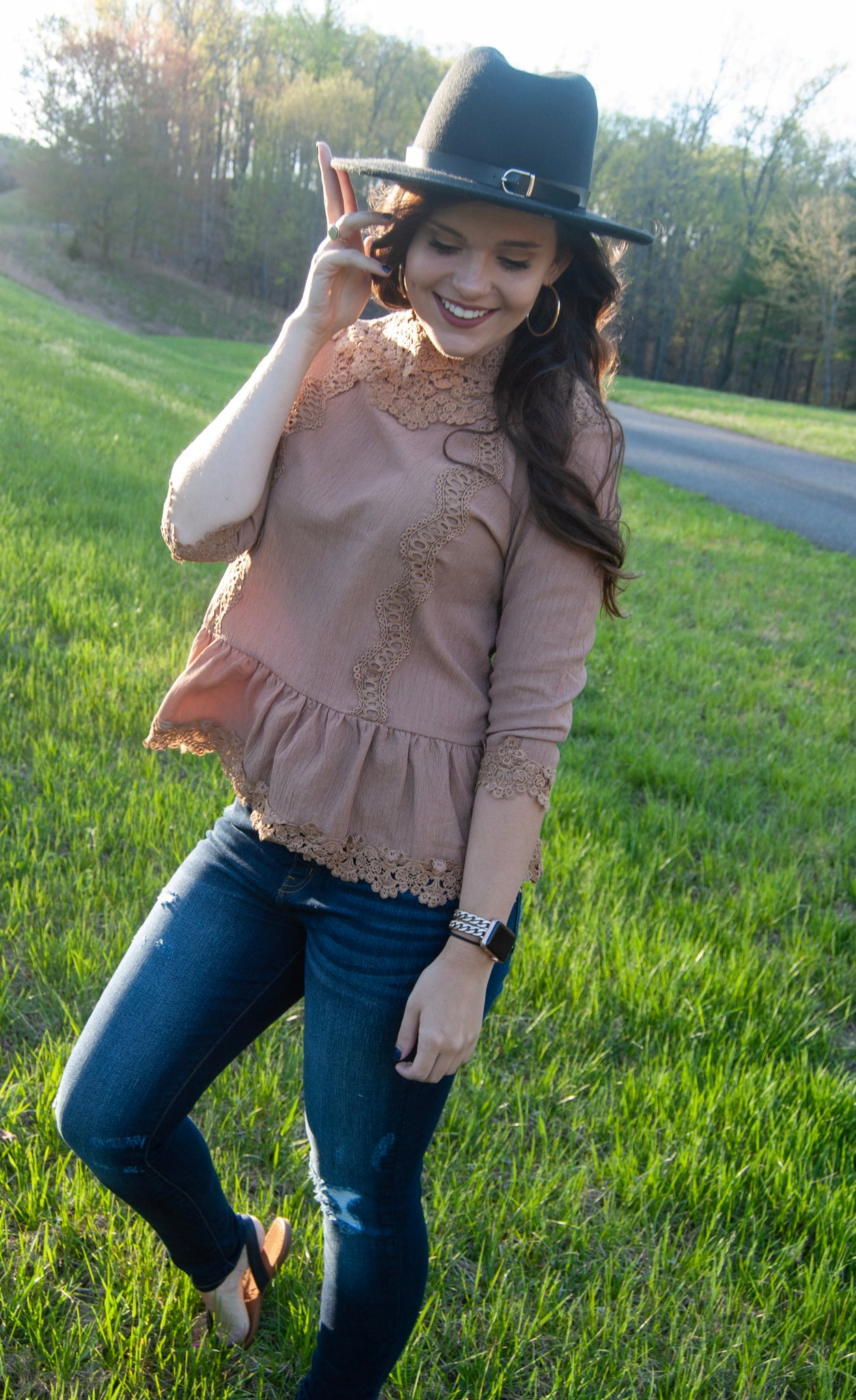 Abby Lace Peplum Top