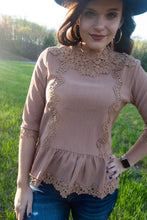 Load image into Gallery viewer, Abby Lace Peplum Top