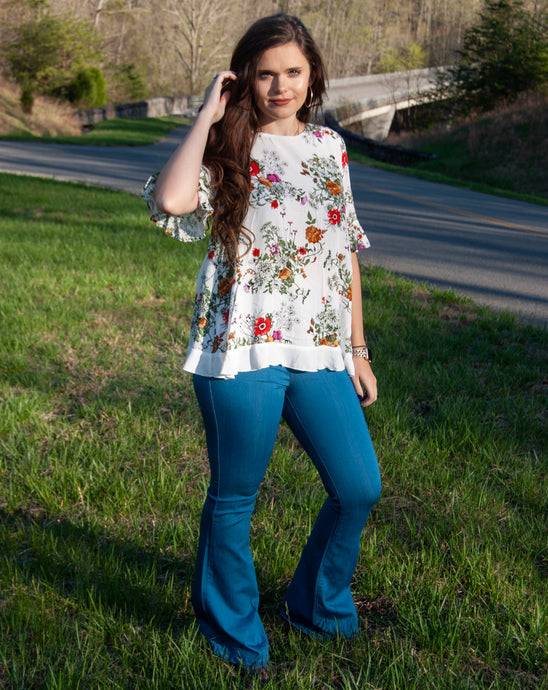 Paula Floral Top in White