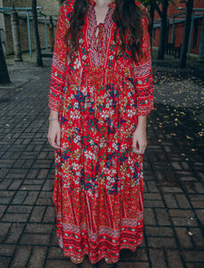 Jody Floral Dress in Red