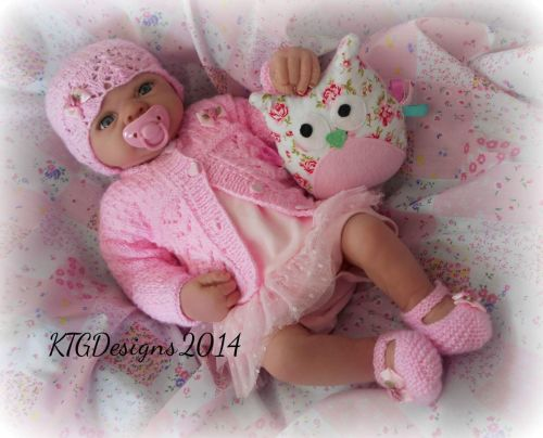 d0a52309274e Charlotte Knitting Pattern to Knit Baby Girl Cardigan Hat Shoes Set ...