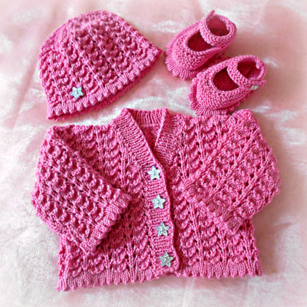 dcdf1ab848c6 Emily Knitting Pattern to Knit Baby Girl Cardigan Hat Shoes Set in 0 ...