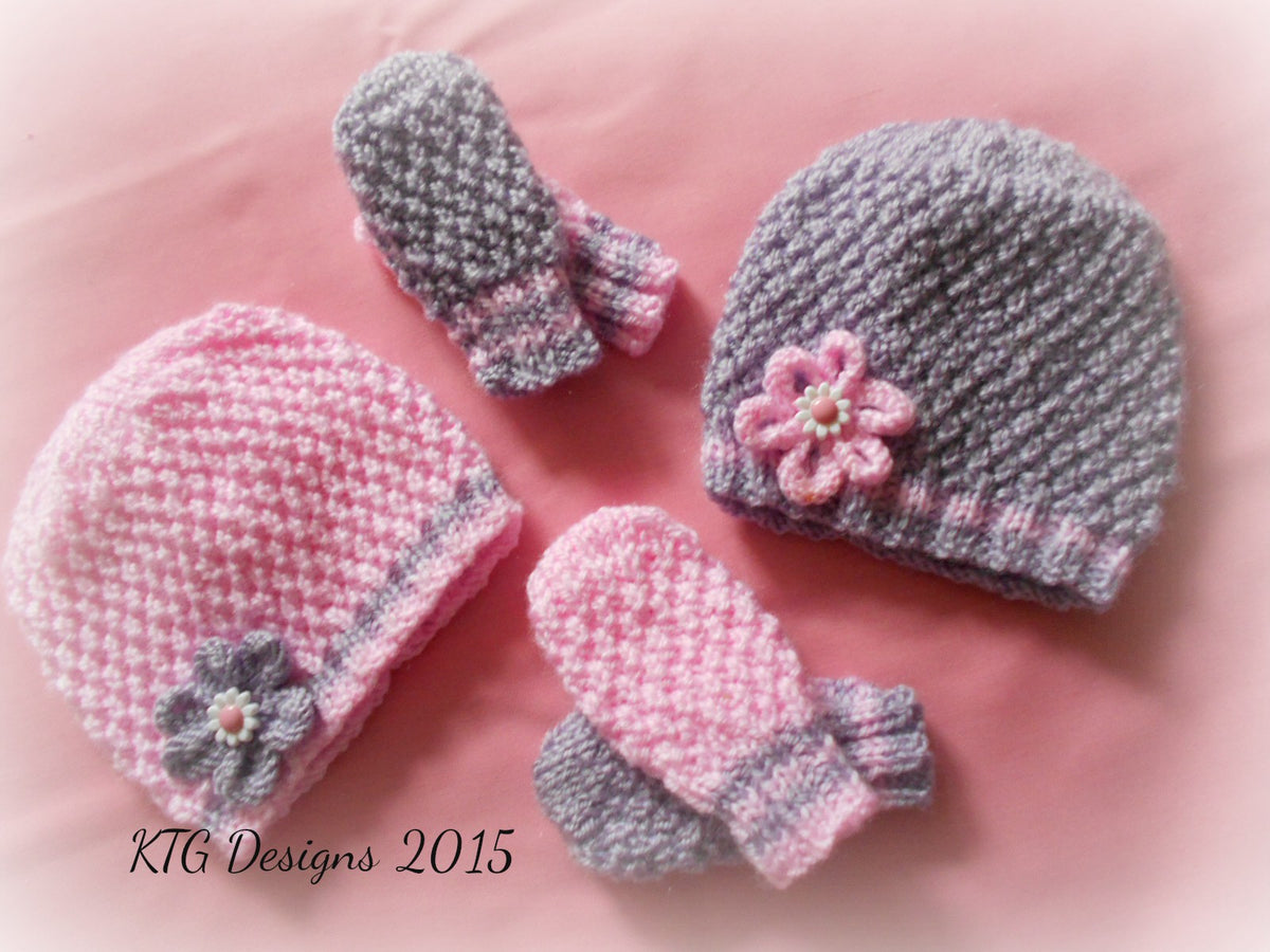 b1ba150b013 Grace Baby Girl hat and mittens knitting pattern – Katy G Knitting Designs