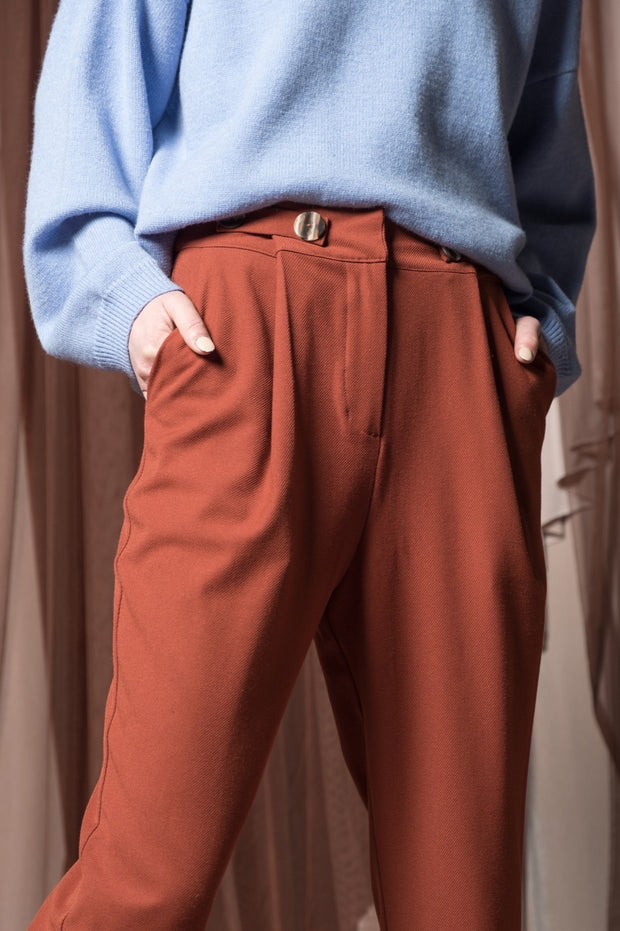 Waist Button Detail Trousers