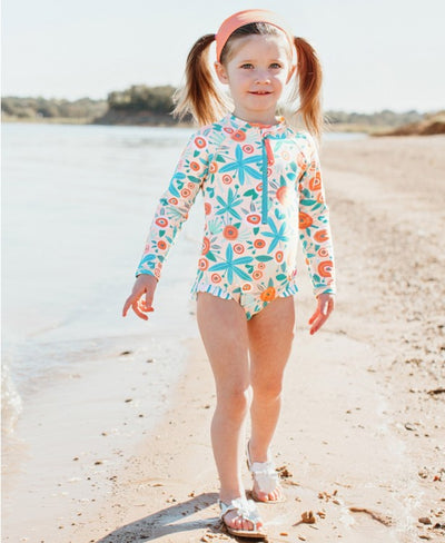 Seaside Floral Long Sleeve One Piece