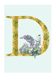 D - Dolphin Alphabet Animal Art Print