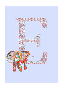 E - Elephant Alphabet Animal Art Print