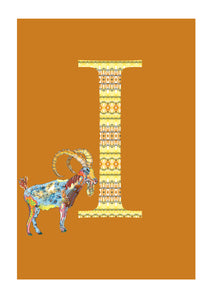 I - Ibex Alphabet Animal Art Print