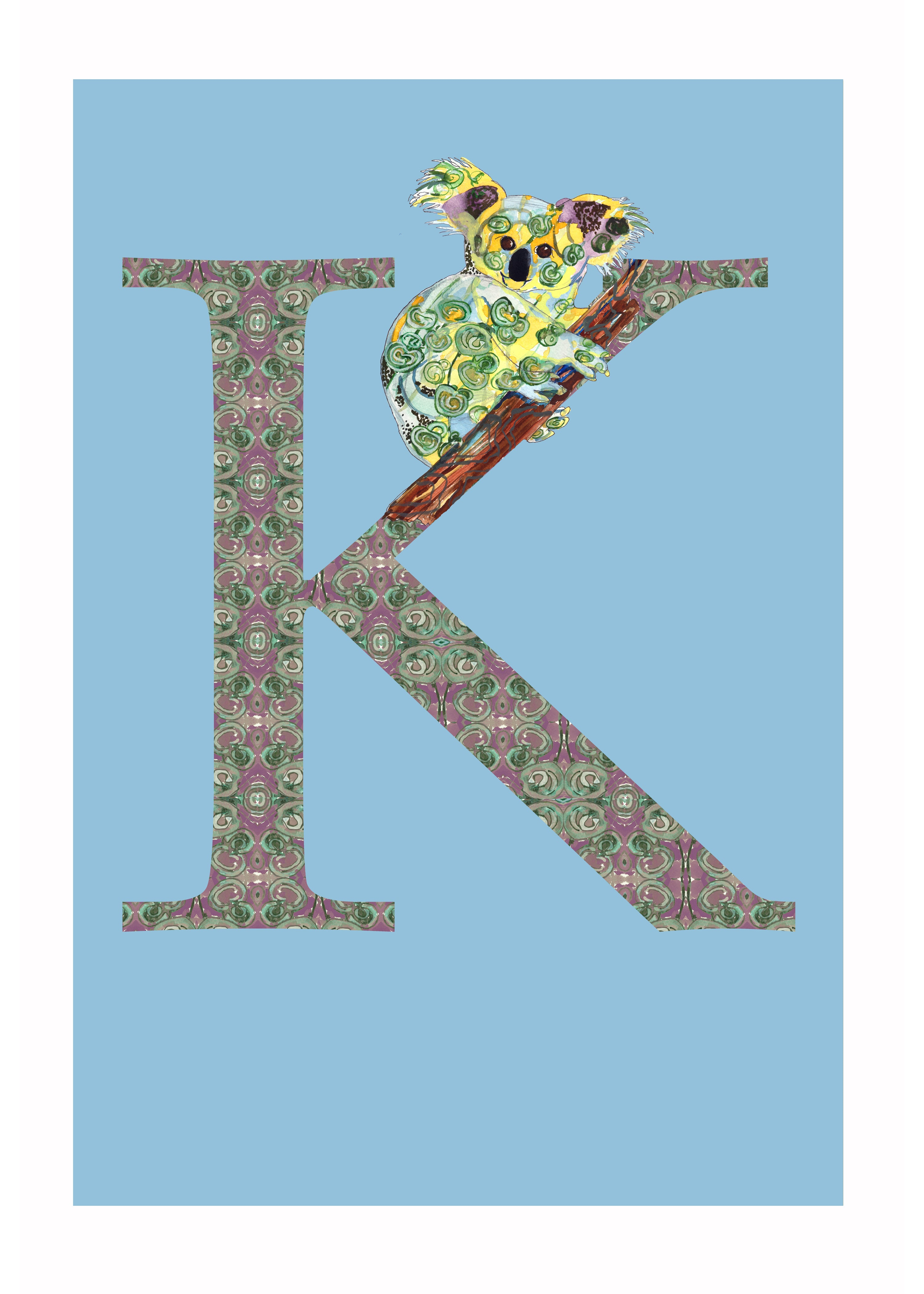 K - Koala Alphabet Animal Art Print