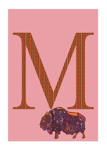 M - Musk Ox Alphabet Animal Art Print