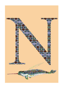 N - Narwhal Alphabet Animal Art Print
