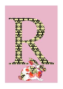R - Rabbit Alphabet Animal Art Print