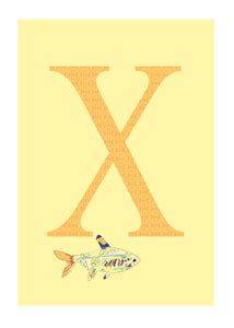 X - X-Ray Tetra Alphabet Animal Art Print