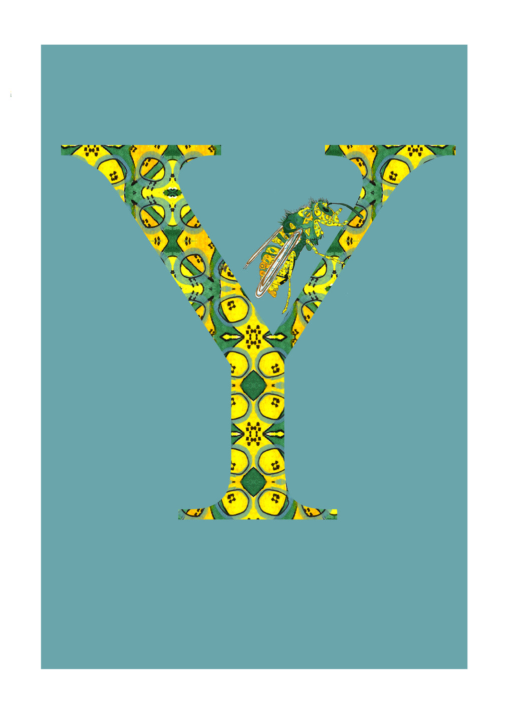 Y - Yellowjacket Alphabet Animal Art Print