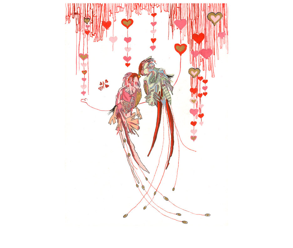 Valentine's Love Birds - Limited Edition Art Print