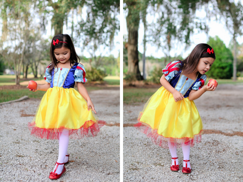 Pretend play costume Snow White Princess Dress for Girls Tea Length by Great Pretenders