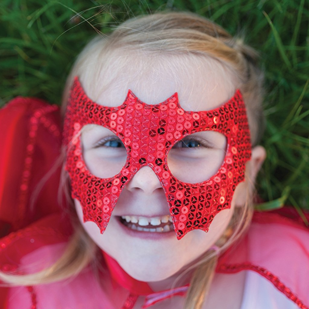 Red Sequins Bat Mask