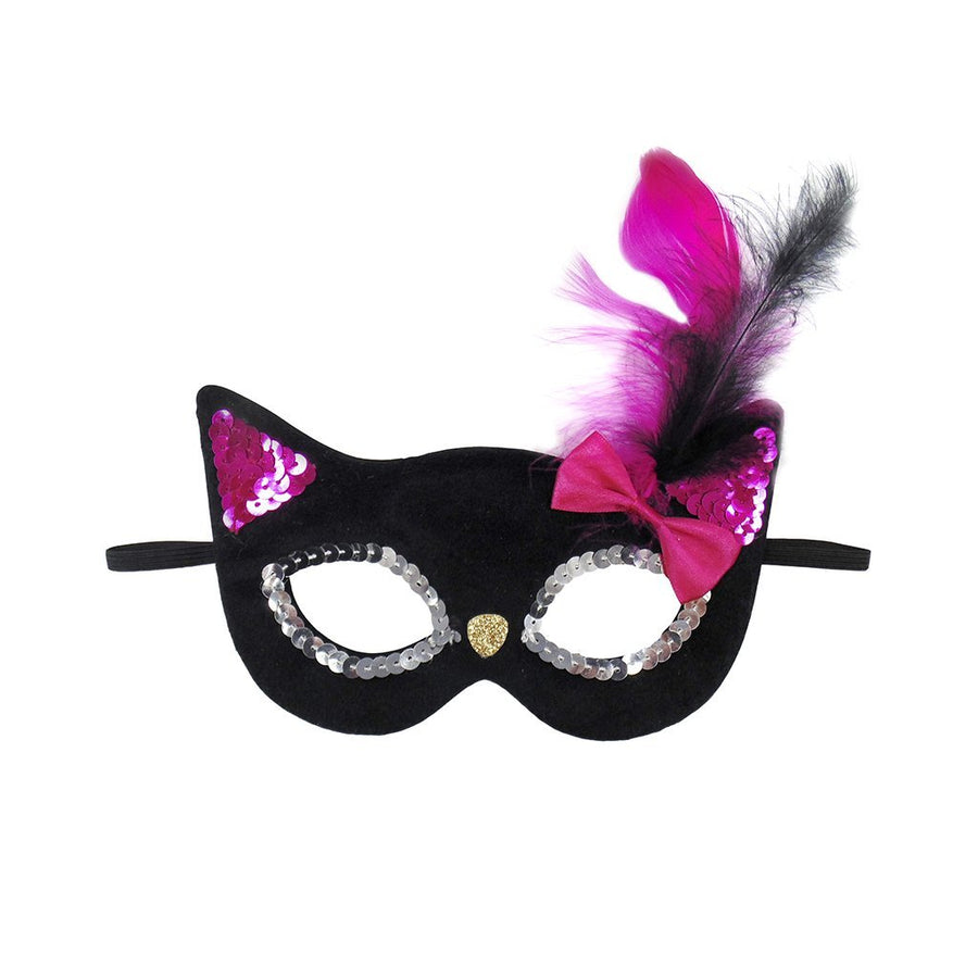 Glitter Black Kitty Mask with Feathers