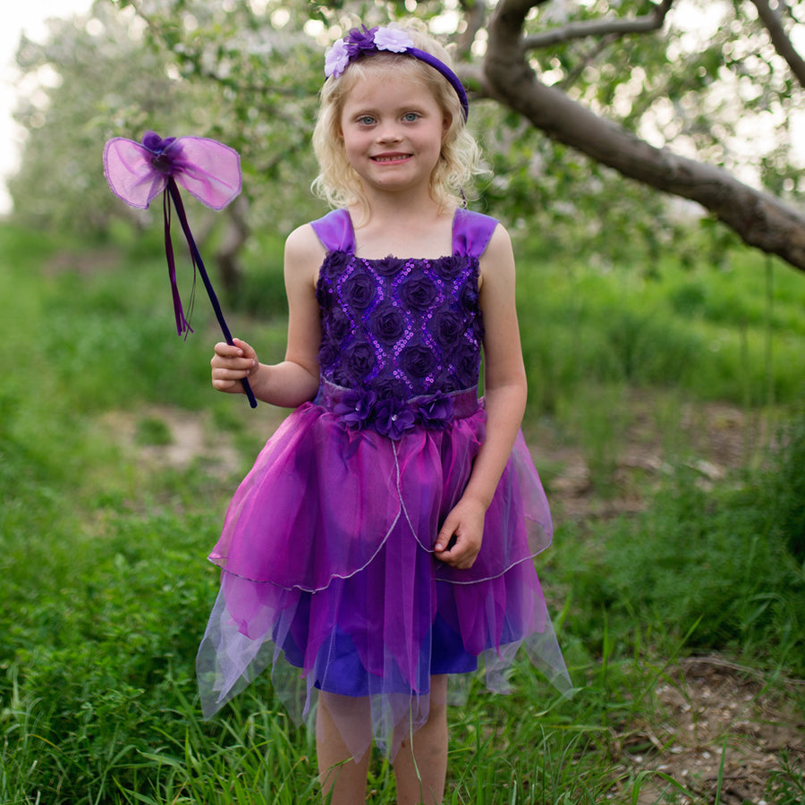 Violet Flower Fairy with Wand & Halo