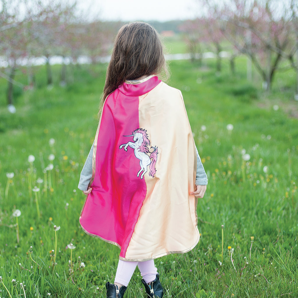 Unicorn Action Cape Pink and Gold