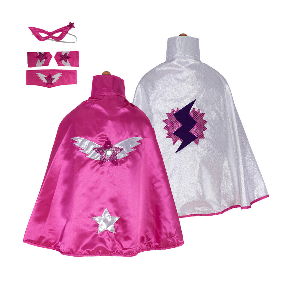 Super Hero Cape Set Reversible Pink - Great Pretenders