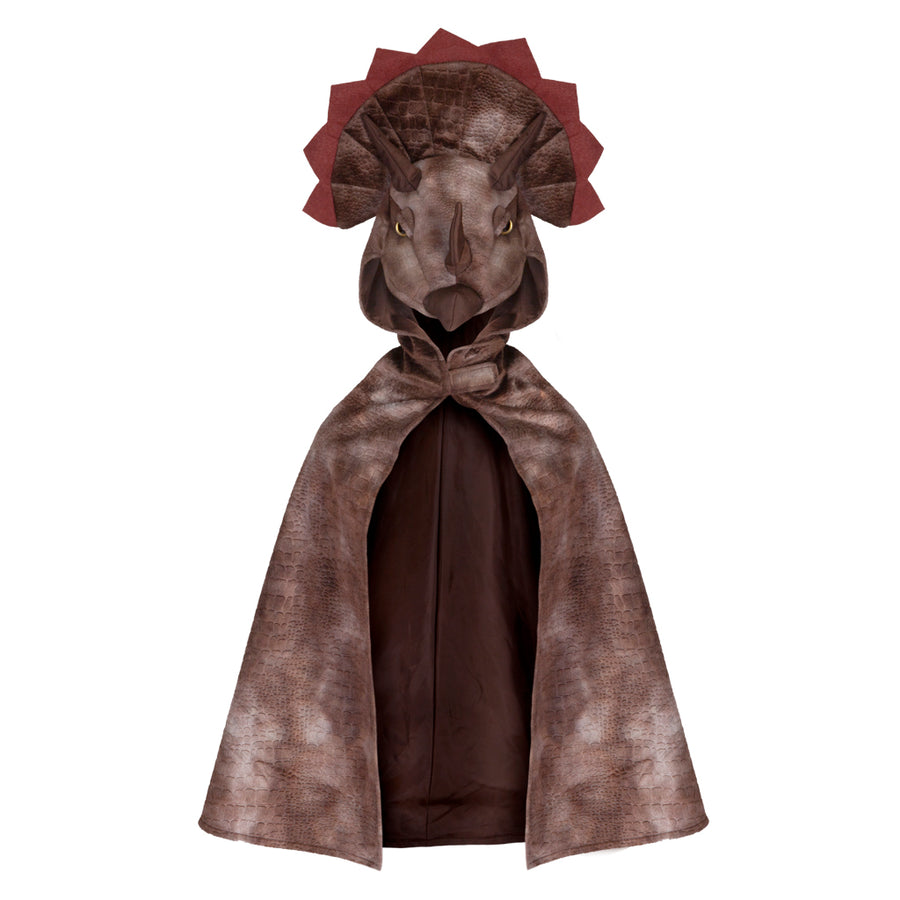 Dino Triceratops Hooded Cape Brown
