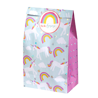 Treat Bags with Stickers - Unicorn (8 pcs) - Great Pretenders
