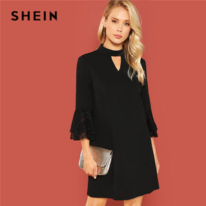 43c18f8b92 SHEIN Black Office Lady Solid Cut Out Front Eyelash Lace Trim Stand Neck  3/4 Sleeve Dress Autumn Elegant Workwear Women Dresses