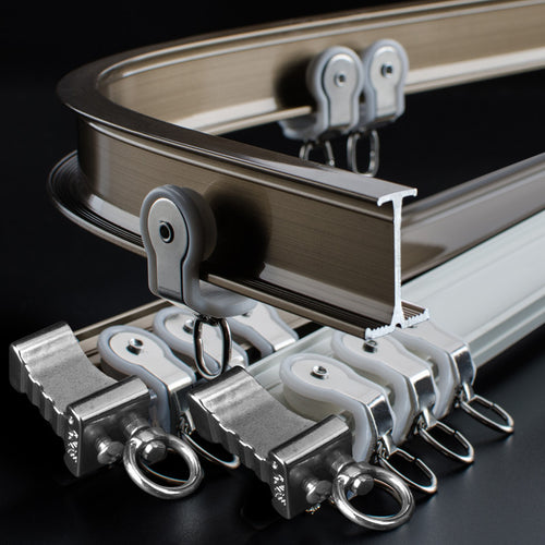 Heavy-Duty Flexible Track for Bay Window Aluminum Alloy Silent Curtain Rod Curtain Accessories  Customized