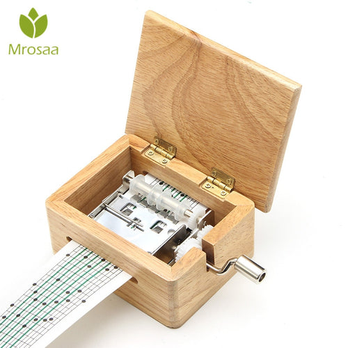 15 Tone DIY Hand-cranked WoodenMusic, A  Hole Puncher And 10 pcs Paper Tapes, Music Movements Box paper strip