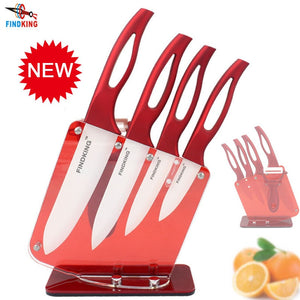 "FINDKING Beauty Gifts Zirconia red handle Ceramic Knife with holder kitchen Set 3"" 4"" 5"" 6"" inch+ Peeler+Holder kitchen knife"