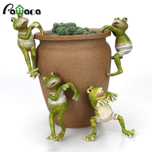 4Pcs/Set Cartoon Cute Hanging Climbing Frog Potted Ornaments Pastoral Frog Figurine for Home Table Garden Decoration Kids Gift