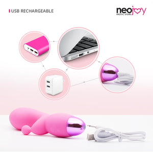 Neojoy G-Clit Dual Silicone Rabbit Vibrator USB Rechargeable 10-Speed Functions - Pink Rabbit - lucidtoys.com Dildo vibrator sex toy love doll