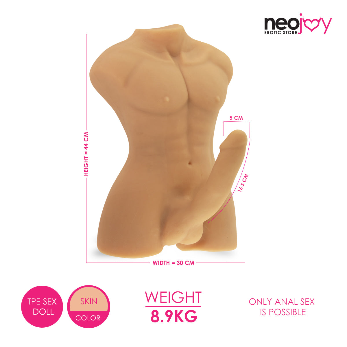 Neojoy Realistic Dildo Male Sex Doll TPE - Flesh 8.9KG 4